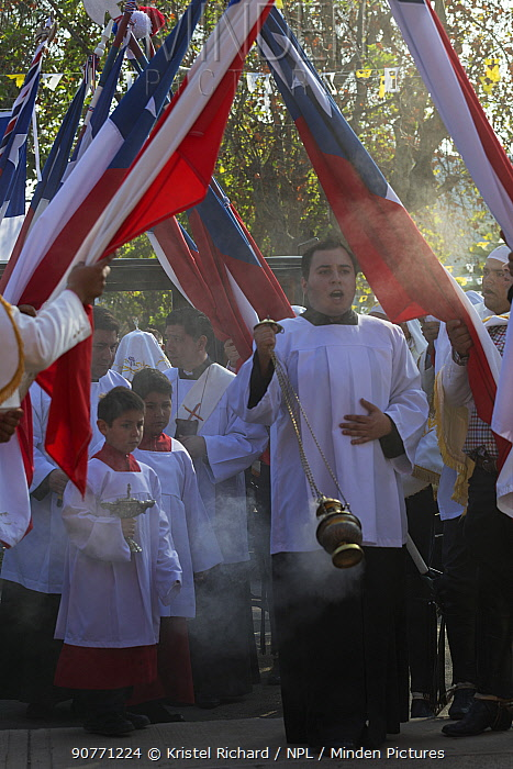 Priests and choir boys participating in Cuasimodo, a Catholic festival, Colina, Chacabuco Province, Santiago Metropolitan Region, Chile, Latin America. April 2017.