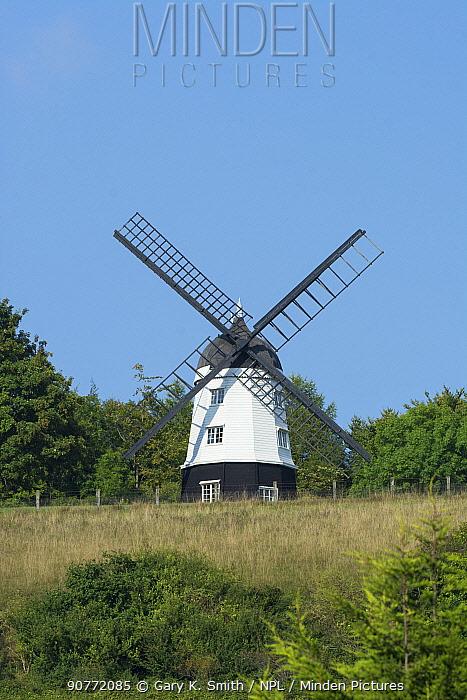 Cobstone windmill above Turville Village, The Chilterns, Buckinghamshire, England, UK. September.