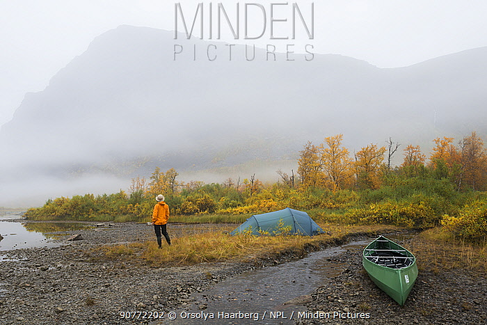 Canoeing and camping in the Rapa delta. Laponia World Heritage Site, Lapland, Sweden.