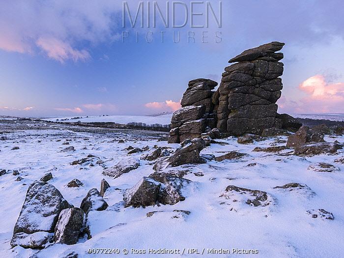 Houndtor after snowfall, wintry view of moorland, Dartmoor National Park, Devon, UK. January 2017.