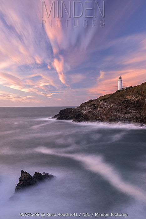 Trevose Head  lighthouse against late evening sky, north Cornwall, UK. September 2016.