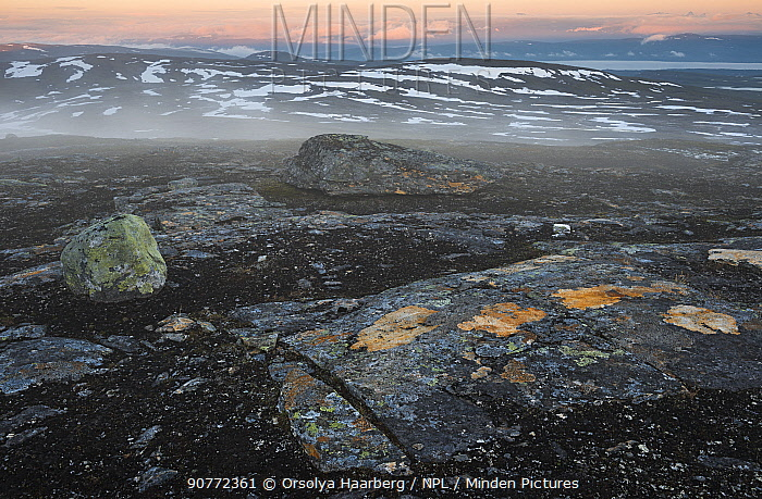 View from Mt Stipok in the Padjelanta National Park, Laponia World Heritage Site, Swedish Lapland, Sweden. December 2016.