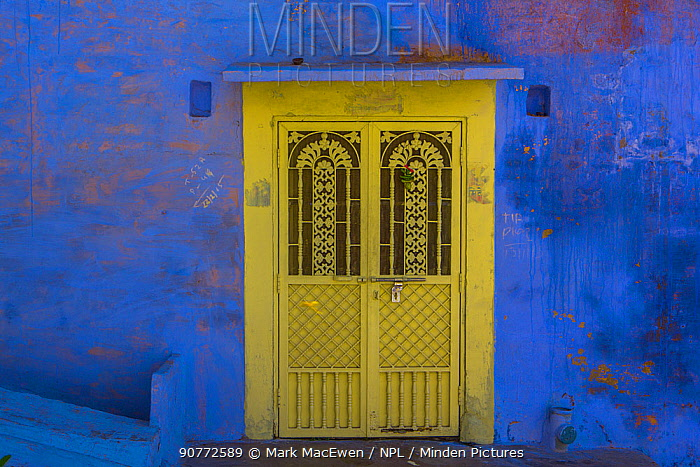 Yellow door in the Blue City,  Jodhpur, Rajasthan, India. March 2015