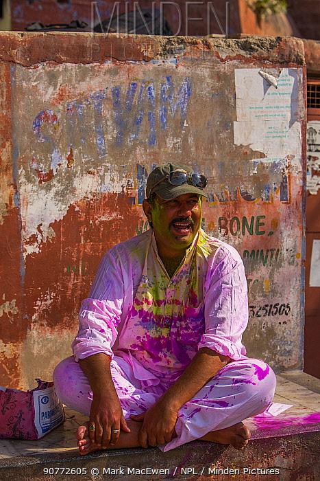 Man covered in  during Holi festival,  Jodhpur, Rajasthan, India.
