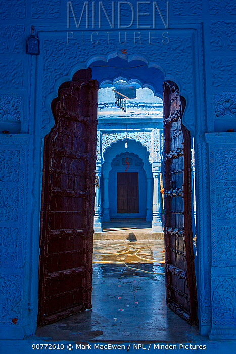 Door in the Blue City,  Jodhpur, Rajasthan, India. March 2015