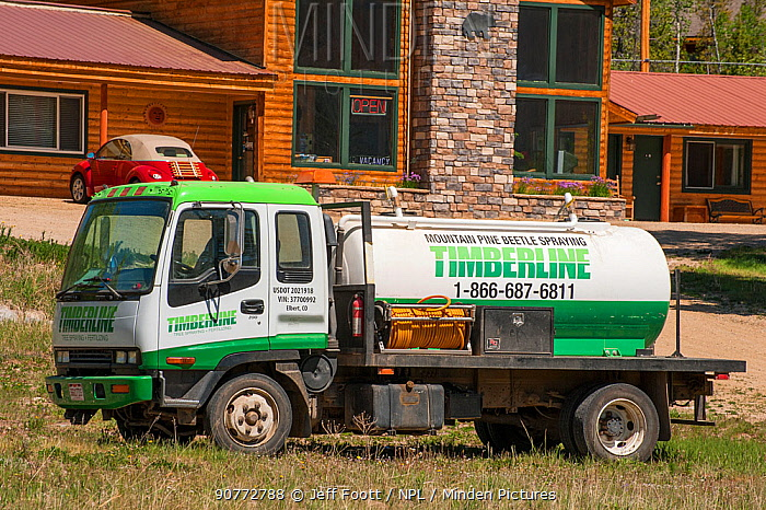 Truck used for spraying Mountain pine beetle (Dendroctonus ponderosae) in Colorado, USA, June. The current outbreak of mountain pine beetles has been particularly aggressive. This is due to climate change, monoculture planting of trees and fire suppression.