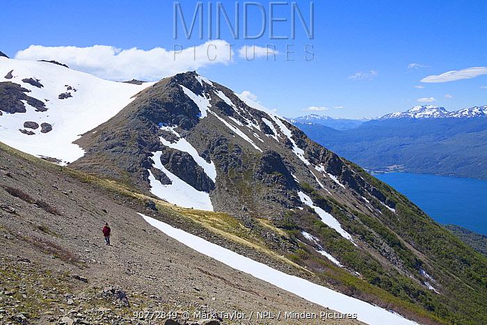 Hiking an alpine trail, Los Alerces National Park UNESCO World Heritage Site, Argentina.