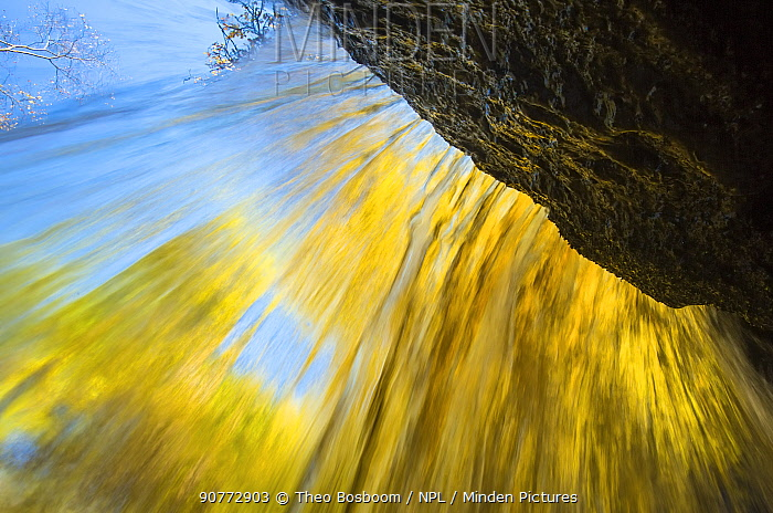 Autumn trees seen from behind waterfall in the Hoegne river, Ardennes, Belgium.
