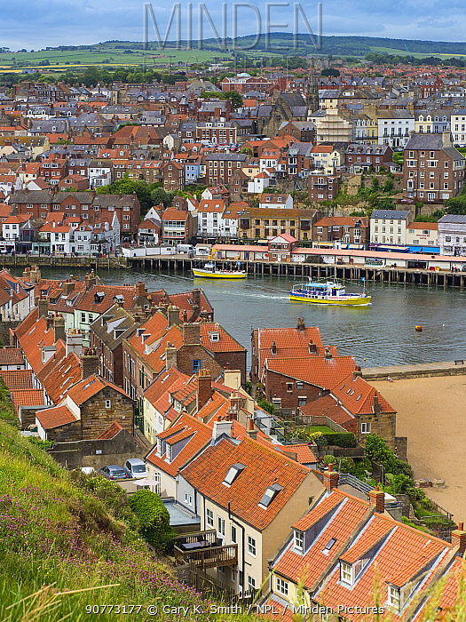 View of Whitby Town and the river Esk. Whitby, Yorkshire, England, UK. June 2017.