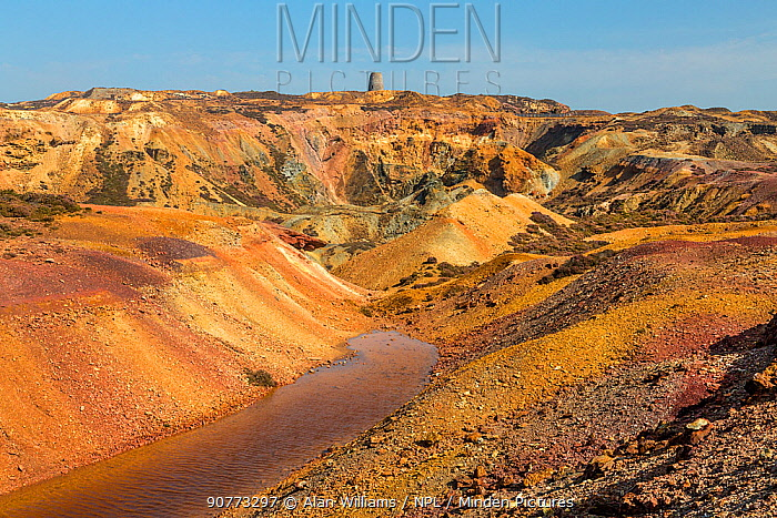 Parys Mountain disused copper ore mine showing precipitation ponds. Near Amlwch, north west Anglesey, North Wales, UK September.
