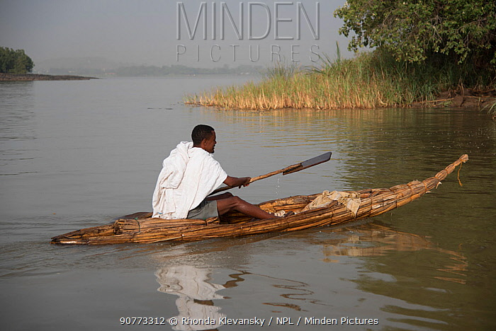 Monk crossing Lake Tana, source of the Blue Nile, from Debra Mariam Monastery to the mainland. Lake Tana Biosphere Reserve, Ethiopia. April 2015.