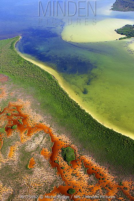 Aerial shot of the Laguna Sian Ka'an, freshwater lagoon,  close to Boca Paila,  Quintana Roo, Yucatan Peninsula, Mexico. February 2014. Photographed for The Freshwater Project