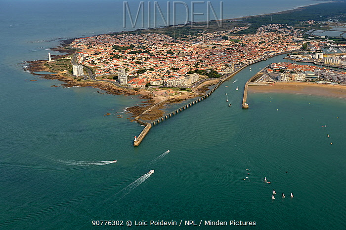 Aerial view of the harbour entrance at Les Sables d'Olonne, Vendee, France, July 2017.
