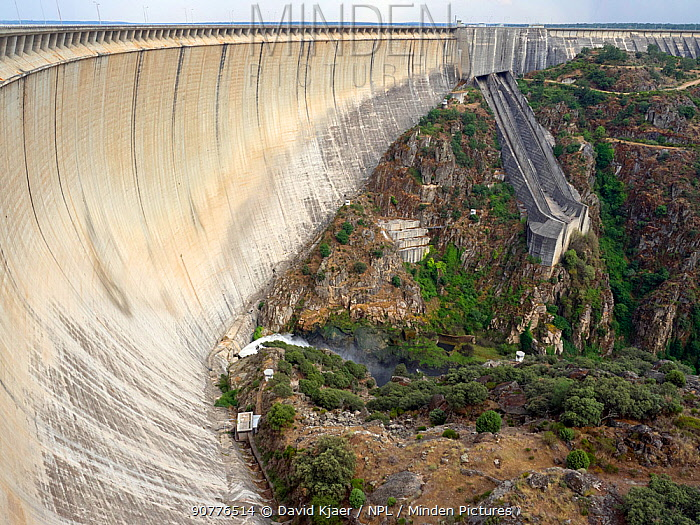 Almendra hydroelectric dam,  also known as the Villarino Dam, on the   Rio Tormes, Salamanca, Spain. June.