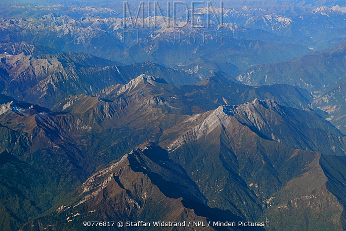 Aerial view over the Tien-Shan mountains, China, October 2016.