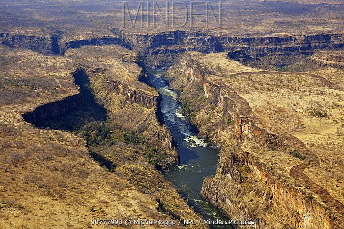 Aerial view of Batoka Gorge, Zambezi river downstream of Victoria Falls, Mosi-oa-Tunya / Victoria Falls UNESCO World Heritage Site. At the border of Zimbabwe and Zambia. Photographed for the Freshwater Project.
