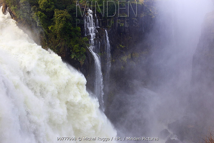 Victoria Falls Waterfall, Zambezi River at the border of Zimbabwe and Zambia, Mosi-oa-Tunya / Victoria Falls UNESCO World Heritage Site. Photographed for The Freshwater Project in July 2014