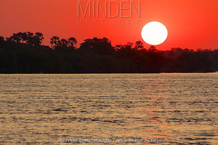 Zambezi River upstream of Victoria falls at sunset, Mosi-oa-Tunya / Victoria Falls UNESCO World Heritage Site. At the border of Zimbabwe and Zambia,   Photographed for The Freshwater Project.