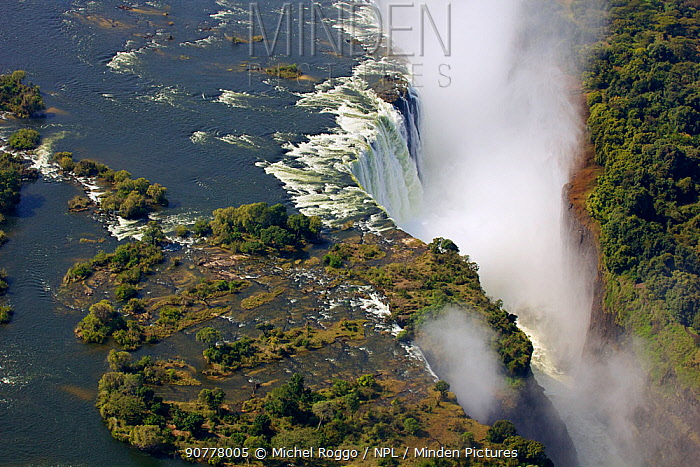 Aerial view of Victoria Falls Waterfall,  Zambezi River at the border of Zimbabwe and Zambia, Mosi-oa-Tunya / Victoria Falls UNESCO World Heritage Site. Photographed for The Freshwater Project in July 2014