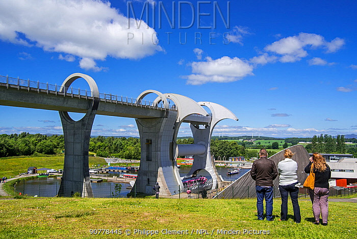 Falkirk Wheel, rotating boat lift connecting the Forth and Clyde Canal with the Union Canal, Stirlingshire, Scotland, UK, June 2017