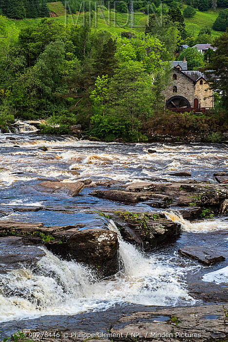 Falls of Dochart in the village Killin and the Old Mill / St Fillan's Mill, Loch Lomond & The Trossachs National Park, Stirling, Scotland, UK, June 2017
