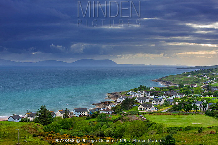 View over the village Gairloch on the shores of Loch Gairloch, Wester Ross, North-West Scottish Highlands, Scotland, UK, May 2017