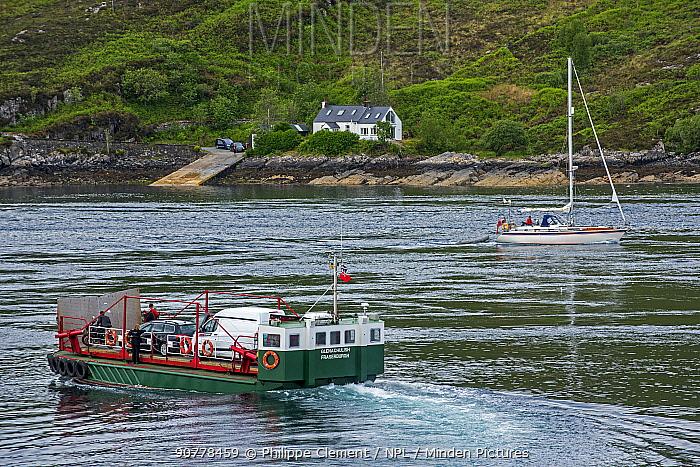 MV Glenachulish, turntable ferry operating a summer service between Glenelg and Kylerhea, on the Isle of Skye, Scottish Highlands, Scotland, UK, June 2017