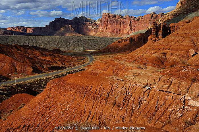 Eroded sandstone cliffs, Capitol Reef National Park, Utah, USA, March 2014.