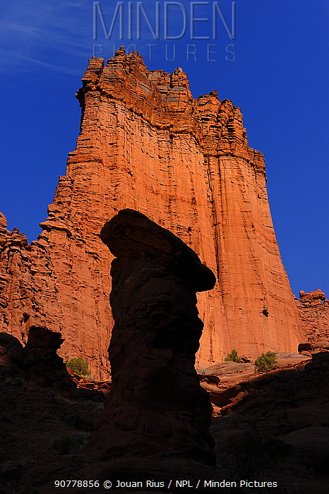 Shadow of hoodoo on sandstone cliff, Fisher Towers Recreation Site, Moab, Utah, USA. March 2014.