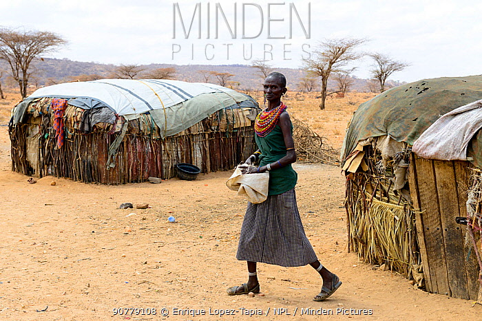 Samburu woman next to improvised  huts, in dry landscape near Samburu National Reserve, Kenya, September 2017.
