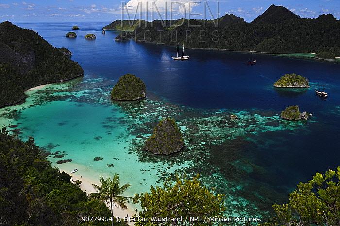 Karst islands in Waiag archipelago, Raja Ampat, Western Papua, Indonesian New Guinea December 2016.
