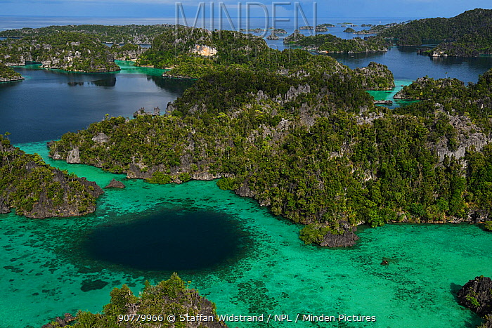 Karst islands in Misool archipelago, Raja Ampat, Western Papua, Indonesian New Guinea. December 2016.