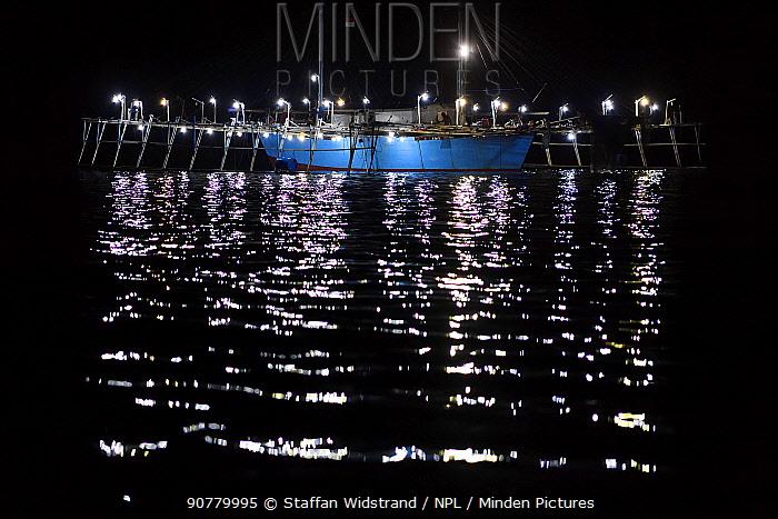 Fishing platform at night, Bitsyara Bay, Mainland New Guinea, Western Papua, Indonesian New Guinea