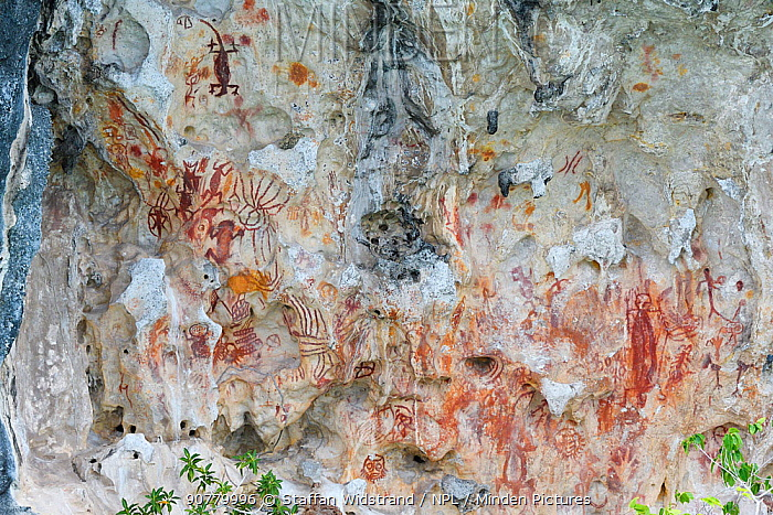 Ancient rock art painting galleries, Aiduma Island, near the Mainland New Guinea, Western Papua, Indonesian New Guinea