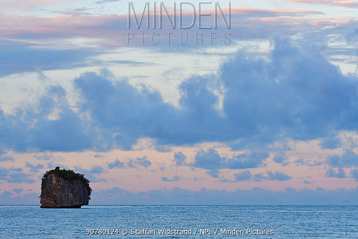 Small island at dawn,  Waigeo, Raja Ampat, Western Papua, Indonesian New Guinea. December 2016.