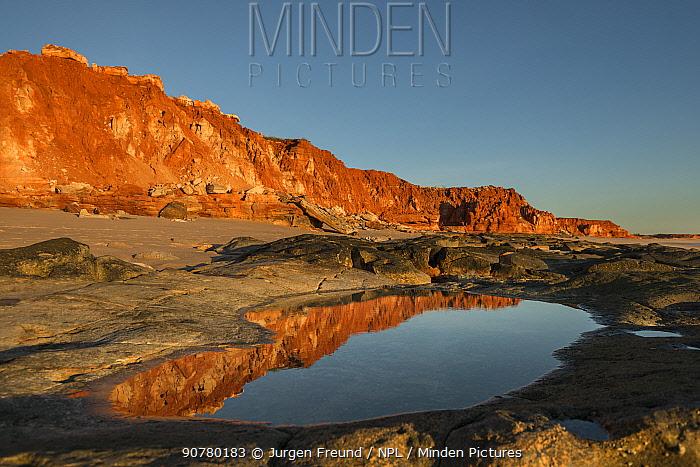 Reflections on the waters along the beach. Broome, Dampier Peninsula, Kimberley, Western Australia. July 2016.