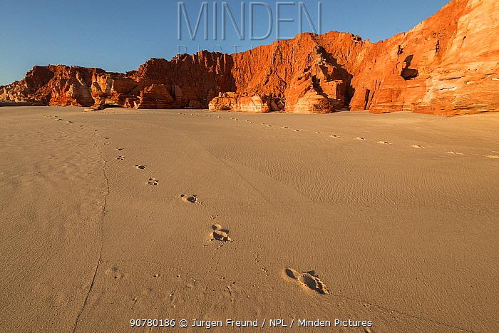 Footsteps on the white sands, Kimberley, Broome, Western Australia, Australia July 2016.