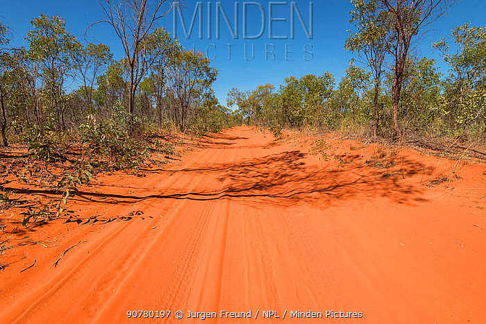 Red sandy roads from Broome to Cape Leveque, Kimberley, Western Australia. July 2016.