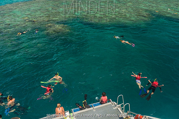 Snorkellers swimming the reefs of the Great Barrier Reef with a semi-submesible carrying tourists to see the reef from underwater, Great Barrier Reef, Queensland, Australia October 2016.