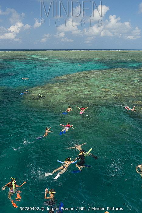 Snorkellers swimming the reefs of the Great Barrier Reef, Queensland, Australia October 2016.