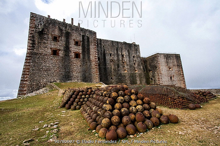 View of La Citadelle from the backyard with pile of cannon balls UNESCO World Heritage Site, Haiti, August 2016.