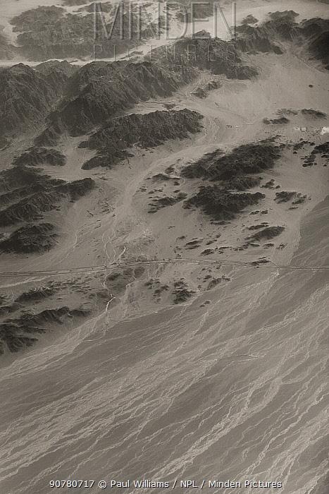 View from plane, Lut Desert or Dasht-e Lut, Iran, December 2013. UNESCO World Heritage Site.