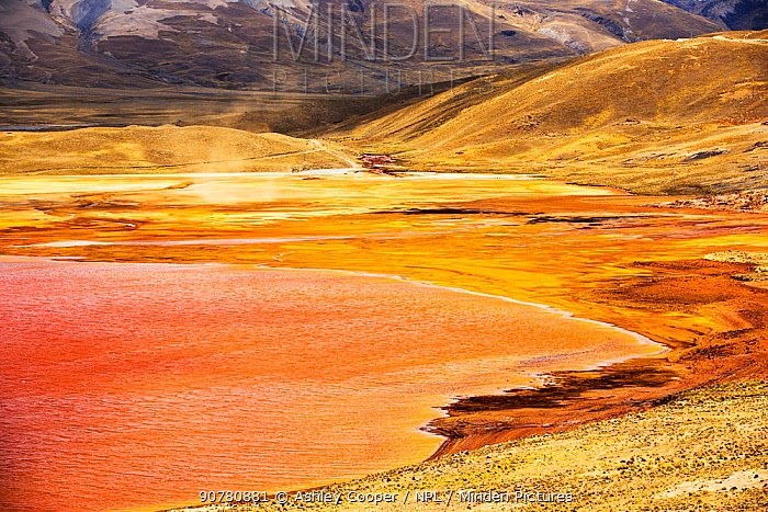 Laguna Miluni a reservoir fed by glacial melt water from the Andean peak of Huayna Potosi. As climate change causes the glaciers to melt, the water supply for La Paz, Bolivia's capital city is rapidly running dry.  Andes, Bolivia. October 2015.