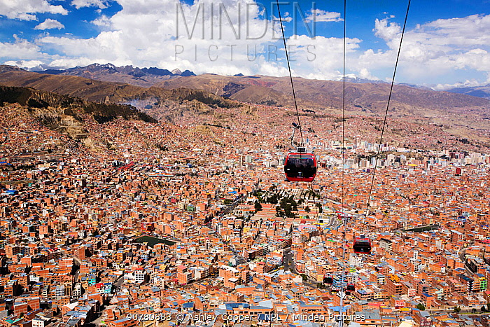 Modern cable car system in La Paz, Bolivia. October 2015.