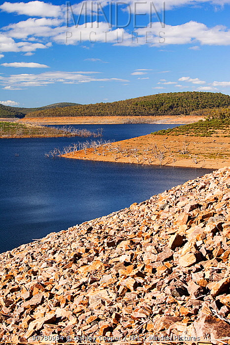 Lake Eucumbene in the Snowy Mountains showing low water levels, during drought which lasted from 1996-2011 Lake Eucumbene, New South Wales, Australia, February 2010.