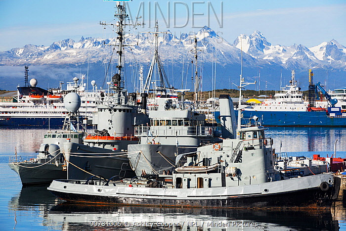 Argentinian Naval vessels in the town of Ushuaia, Tierra del Fuego, Argentina. February 2014.