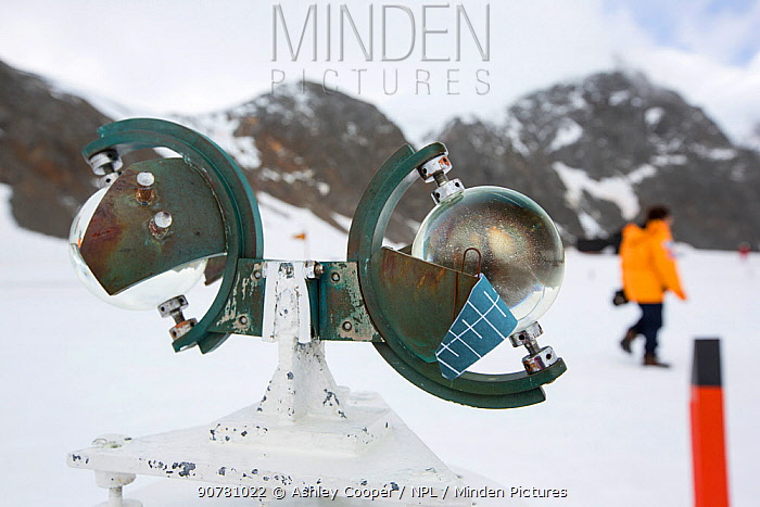 Campbell Stokes Sunshine Recorder, which measures hours of sunlight at Base Orcadas, an Argentine scientific station in Laurie Island, South Orkney Islands, Antarctic Peninsula.