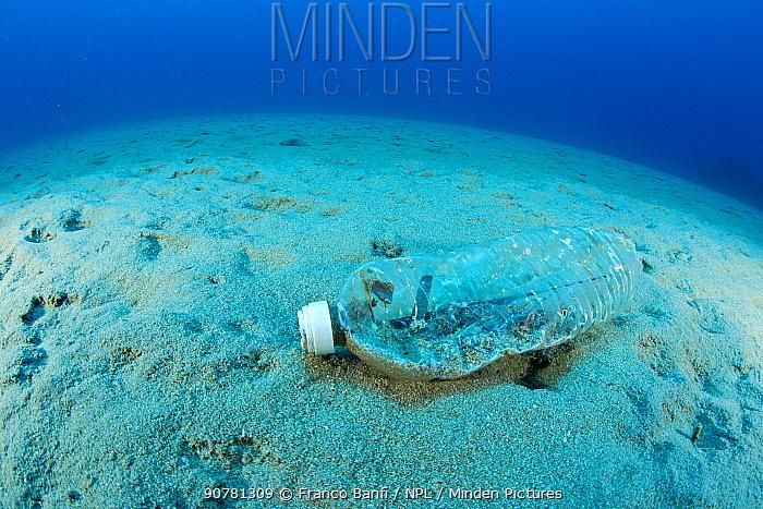 Plastic bottle on the sea floor, Ponza Island, Italy, Tyrrhenian Sea, Mediterranean Sea.