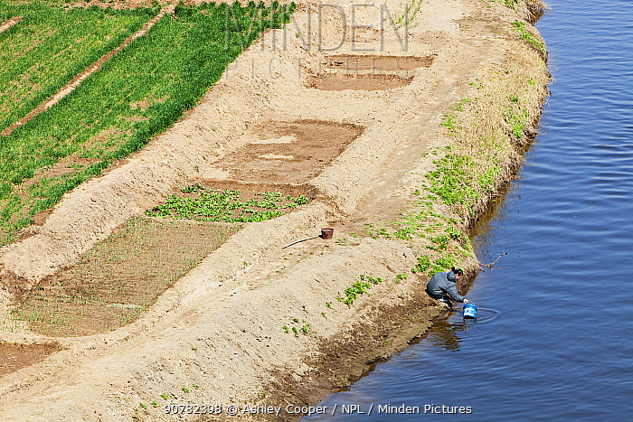 Aerial view of wheat crop irrigation during severe drought, Hangang, Northern China. March 2009.