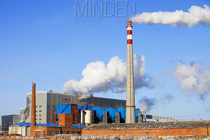 Coal fired power station, Suihua, Heilongjiang Province, China. March 2009. In 2008 China officially became the worlds largest emitter of greenhouse gases.